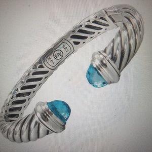 David Yurman Waverly Blue Topaz Sterling Bracelet